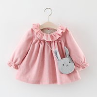Wholesale Top Little Girl Dresses - Girls Ruffle Collar Corduroy Dresses Tops 2017 Fall Kids Boutique Clothing 1-4T Little Girls Long Sleeves Solid Color Dresses with Bag