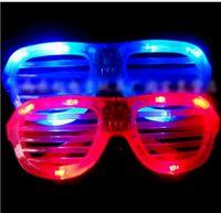 Wholesale Flashing Party Wear - Party Eye Wear LED Light Glasses Flashing Shutters Shape Glasses LED Flash Sunglasses Dances Festival Decoration Supplies