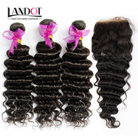 Wholesale deep wave virgin closure piece online - Peruvian Malaysian Indian Cambodian Brazilian Deep Wave Virgin Hair Bundles with Top Lace Closures Deep Curly Mink Remy Human Hair Weaves