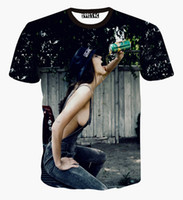 Wholesale Men Sexy Animal - Newest Women sexy t-shirt summer tops 3d t shirt print sexy jeans lady drinking funny novelty tshirt camisetas mujer tops shirts