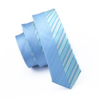 Wholesale Fashion Neck Scarf Patterns - 5.5cm Slim Ties Wedding Party Blue Created Silk Stripes Pattern Necktie For Man Formal Neckcloth Scarf Neckwear E-258