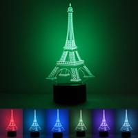 led eiffel kuleleri toptan satış-Eyfel Kulesi LED Işık Plastik Akrilik Dayanıklı Gece Işıkları Düğmesi Anahtarı Hologram Atmosfer 3D Lamba Fabrika Doğrudan Satış 30rm B