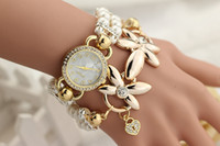 Wholesale Glass Pearl Long Chain - Long Chain Bangle Wristwatches with Flower Pendant Female Girls Crystal Diamond Luxury Wrist Watch Pearl Bracelet Geneva Watches for Women