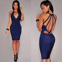 Wholesale Sexy Backless Midi Dresses - Womens Summer Bandage Bodycon Club Evening Party Cocktail Sexy Short Mini Dress Casual Dresses Backless V Neck Slim Dress Ladies Clothing