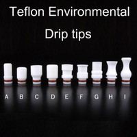 Wholesale Short Clearomizer - 510 Teflon Short Long Wide Bore Drip Tips mouthpiece Fit EGO Vaporizer Atomizers Tanks CE4 RDA Clearomizer