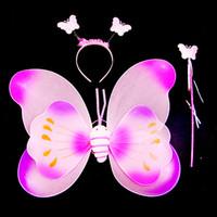 ingrosso ali per i costumi-Ali di farfalla Bambini Costume puntelli tre pezzi di ali doppie ali singole all'ingrosso