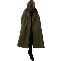 Wholesale Womens Wool Military Coats - New Womens Lapel Neck Wool Coat Long Sleeve Causal Long Overcoat 2017 Winter Warm Open Front Military Loose Solid Outwear Jacket