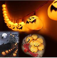 colores claros de calabaza al por mayor-Cadena de calabaza de colores LED de Halloween cadena de fantasmas para la decoración del hogar fuente de alimentación 220V o 110v 13 pies 16 luces