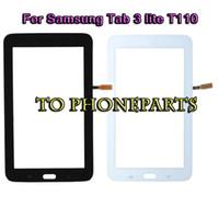 t111 dokunmatik toptan satış-Dokunmatik Ekran Digitizer Cam Lens Samsung Tab 3 Lite T110 T111 için yapışkan etiket ile