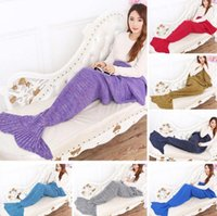 Wholesale Baby Blanket Bags Wholesale - Mermaid Fish Tail Sofa Blanket 90*50cm Warm Soft Sleeping Bags Bedding Wrap Baby Sleeping Bags 16 Colors OOA2885