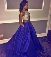 Wholesale Taffeta Beaded Blue Prom Dress - Two Piece Black Girl Prom Dresses 2016 Sexy High Neck Beaded Royal Blue Taffeta Side Split Evening Party Gowns Custom Made