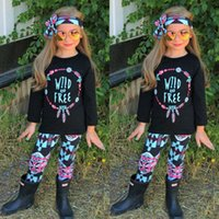 Wholesale Wild Pants - Girls Outfits Wild and Free Tee Shirt Top and Pants Set 3 piece for Toddler girls Clothing Set roupas infantis menina