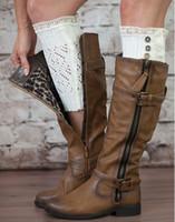 Wholesale Wholesale Fashion Womens Boots - crochet leg warmers lace trim short boot cuffs womens boot socks lace winter knitted leg warmer decorate fashion women free shipping