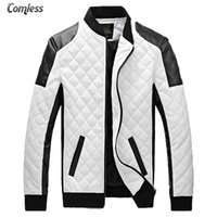 Wholesale Leather Jackets Prices - Wholesale- Wholesale Price 2017 New Design Men's Jacket Winter&Autumn PU Leather Black&White Fashion Slim Plaid Jacket For Man DropShipping