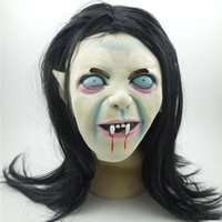 Wholesale Cosplay Skin - Halloween Grimace Ghost Mask Scary Toothy Zombie Emulsion Skin with Hair Halloween Horror Zombie Latex Mask Cosplay