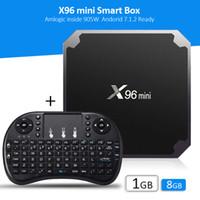 Wholesale Tv Wifi Keyboard - Smart tv boxes with wireless keyboard genuine S905W X96 mini android 7.1 1GB+8GB Amlogic Quad Core WIFI 1080P