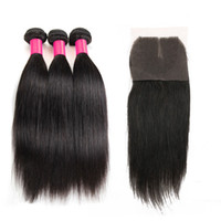 Wholesale wholesale remy hair online - 7A Peruvian Indian Malaysian Brazilian Hair Bundles Unprocessed Remy Human Hair Weave With Closure Brazilian Straight Virgin Hair Extensions