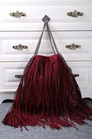 Wholesale Suede Shoulder Bag Fringe Tassel - Burgundy Color Falabella Fraux Suede Fringe Chain Medium Tote Bags Tassel Women's Shoulder Bags
