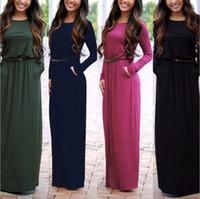Wholesale Scallop Neck - Fashion Ladies' Sexy V-Neck Slim Scallop Neck Bohemia pocket Women Maxi Dress Long Sleeve
