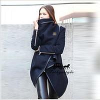 Wholesale coat skirt for women - Woolen Foreskin Skirt Irregular Loose Black Coat Warm Zipper Decoration Overcoat Women Winter For Dress Coats