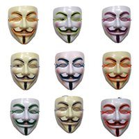 Wholesale v for vendetta mask costume resale online - Glow Mask V Cosplay for Vendetta LED EL wire light Horror fashion Party mask luminous halloween Costumes Party supplies Performance Props