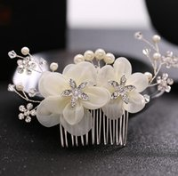 pentes de cabelo de flor de seda venda por atacado-Noiva Europeia Hair Comb Estúdio Decoração Diamante Flor De Seda Cabeça De Flor Enfeites De Noiva Cocar Noiva