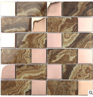 Wholesale art parquet resale online - European brown marble wall mosaic background high quality art background wall D