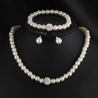 Nova moda Bridal Jewellry Simulated Pearl Crystal Beads Colar Pulseiras Brincos Elegant Anniversary Wedding Jewelry Set