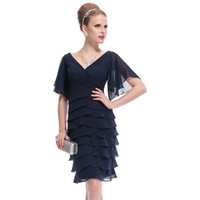 Wholesale Double V Cocktail Dress - Blue Short Cocktail Dresses Ever Pretty Double V-neck Butterfly Sleeve Sexy 2016 Plus Size Special Occasion Dresses Z69