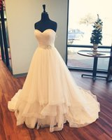 Wholesale Wedding Dress Simple Ballgown - 2016 Tiered Skirt Wedding Dresses with Beaded Flowers and Sweetheart Neckline Real Picture Pleated Tulle Ballgown Bridal Gowns Custom Made