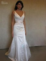 Wholesale Drop Waist Wedding Dress Mermaid - Free Shipping Deep V-neck Applique And Beading Waist With Long Removable Sash Satin Backless Mermaid Wedding Dress