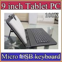 Wholesale coloured tablets resale online - 100X colours Micro USB Keyboard Leather Case For inch Android Tablet pc Folding Leather Protective Case JP