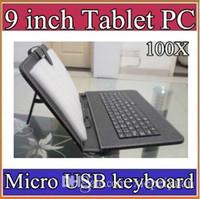 klavye renkleri toptan satış-100X renkler Mikro USB Klavye Kılıf 9 inç Android Tablet pc Için Katlanır Deri Koruyucu Kılıf 2-JP