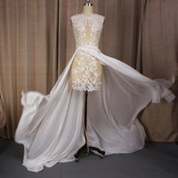 Wholesale Flies Photo - Vestido de noivas See Through Wedding Dresses Lace Pearl Crystal Beaded High Quality High-low Flying Hem Sexy Bridal Gown