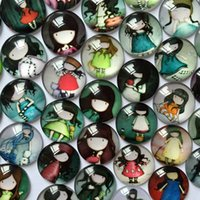 Wholesale Diy Ring Gems - High Quality 300pcs 8 10 12 14 16 18 20mm Mixed Cartoon Little Girl Handmade Photo Glass Cabochons Gem Glass Patch For DIY Rings Necklace