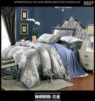 Wholesale Silk Quilt Comforter Black - 2016 New fashion queen king size blue golden Silk cotton jacquard 4pcs bedding set wedding Quilt duvet comforter cover 4pcs bedset 5527