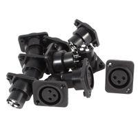 xlr mount großhandel-50Pcs Lot 3 Pin XLR-Buchse Chassis Sockel Panel Mount Adapter Stecker schwarz