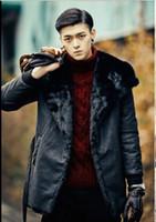 Wholesale Down Jacket Mink Collar - Fall-Luxury Mens Leather Jacket Men Fur Coat 2016 Big Turn-down Collar Medium-long Jaqueta Masculina Couro Mink Fur Windbreaker S79