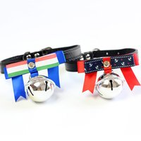 Wholesale Leash Accessories - Fashion PU Leather Dog Leash Classic Anchor Dog Collars Pet Neck Bowtie Bells Small Dogs Headdress Adjustable Collars Dog Accessories