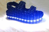 usb ışık gösterisi toptan satış-2016 yaz yeni tasarım usb şarj tabanı Sandalet fasion gösterisi shoppe ayakkabı içinde en iyi kalite ışık 36 adet led ışık var usb şarj tabanı