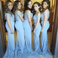 mavi dantel geri gelinlik toptan satış-2017 Işık Sky Blue Mermaid Uzun Gelinlik Modelleri Cap Kollu Dantel Aplike Düşük Geri Düğün Nedime Önlük Kızlar Için