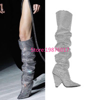 Wholesale Trendy Zips Women - Trendy New Designer Fashion Cone Heel Bling-bling Thigh High Boots Sexy Celebrity Beading Pointy High Heel Boots