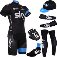 Wholesale Shoes Cover Cycling Xl - Free Shipping 2016 Team SKY pro cycling jersey bibs shorts with cycling warmers bike gloves and Shoes covers BICYCLING wear Maillot Culotte