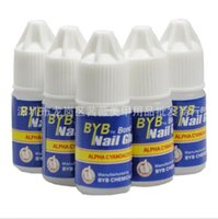 Wholesale Byb Nail Glue 3g - Wholesale-2016 Capacity 3G*100pcs BYB bond clear Nail Glue + free shipping