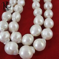 Wholesale Huge Freshwater Pearls - wholesale huge size 12-14mm fireball freshwater baroque white pearl loose strand necklace real nucleated freshwater pearl factory price