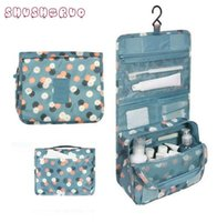 Wholesale Travel Toiletry Bags For Men - New SHUSHIRUO Band Unisex Blue Print Hanging Toiletry Clear Travel Storage BAG Cosmetic Carry Toiletry Organizer For Traveling Bathroom