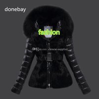 Wholesale Christmas Goose - 2017 new brand duck down jackets with Belts Big large Real raccoon Fur Collar down parkas Women Wool Black Winter Coat christmas