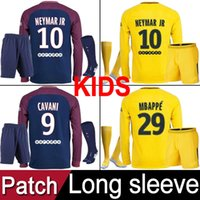 Wholesale Yellow Long Sleeve Shirt Xs - Paris PSG 2017 2018 soccer jerseys kids kit long sleeve sets Maillot de foot MBAPPE NEYMAR JR SAINT GERMAIN patches football shirt uniforms