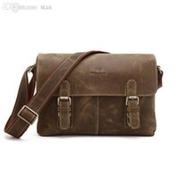Wholesale Crazy Horse Leather Bags - Wholesale-Promotion Best Quality 100% Crazy Horse Genuine Leather Men Messenger bags shoulder bags Crossbody cowhide leather bag #VP-J6002