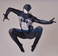 Wholesale Spiderman Zentai Blue Black - 2016 Black Symbiote Spiderman Costume Spandex 3D Printing Halloween Cosplay Black Spider-man Superhero Costume Fullbody Zentai Suit Hot Sale